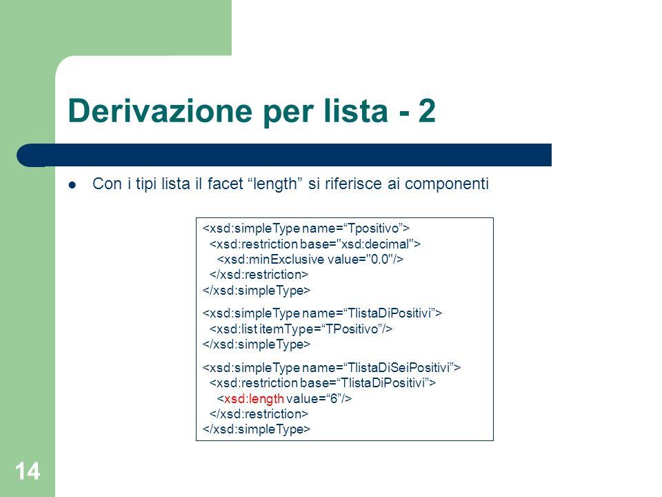 14 Derivazione per lista - 2 Con i tipi lista il facet length si riferisce ai componenti