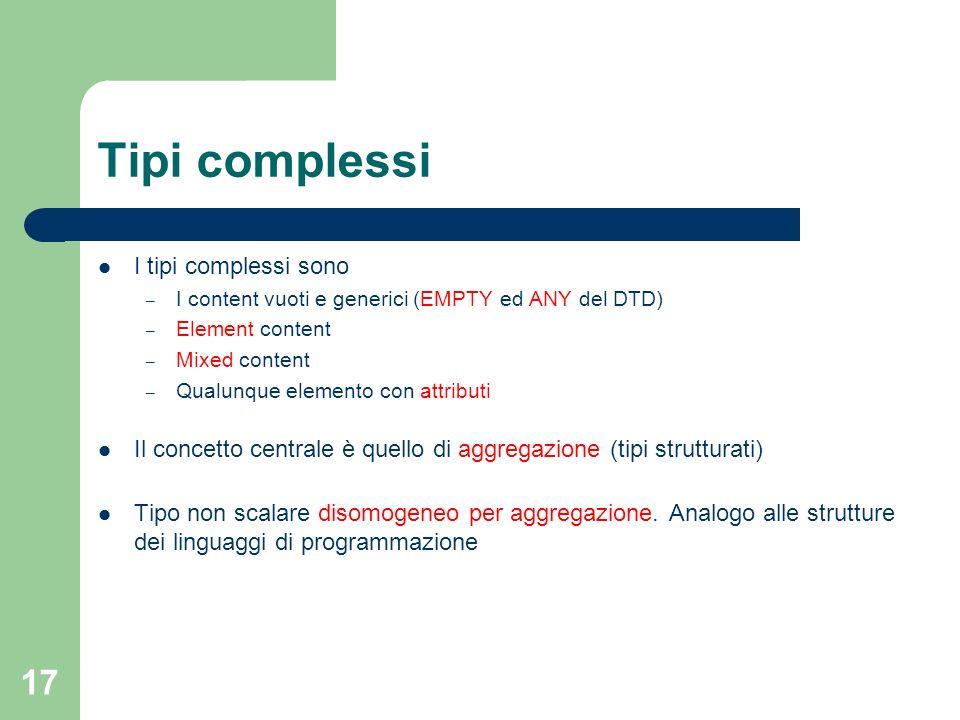 17 Tipi complessi I tipi complessi sono – I content vuoti e generici (EMPTY ed ANY del DTD) – Element content – Mixed content – Qualunque elemento con