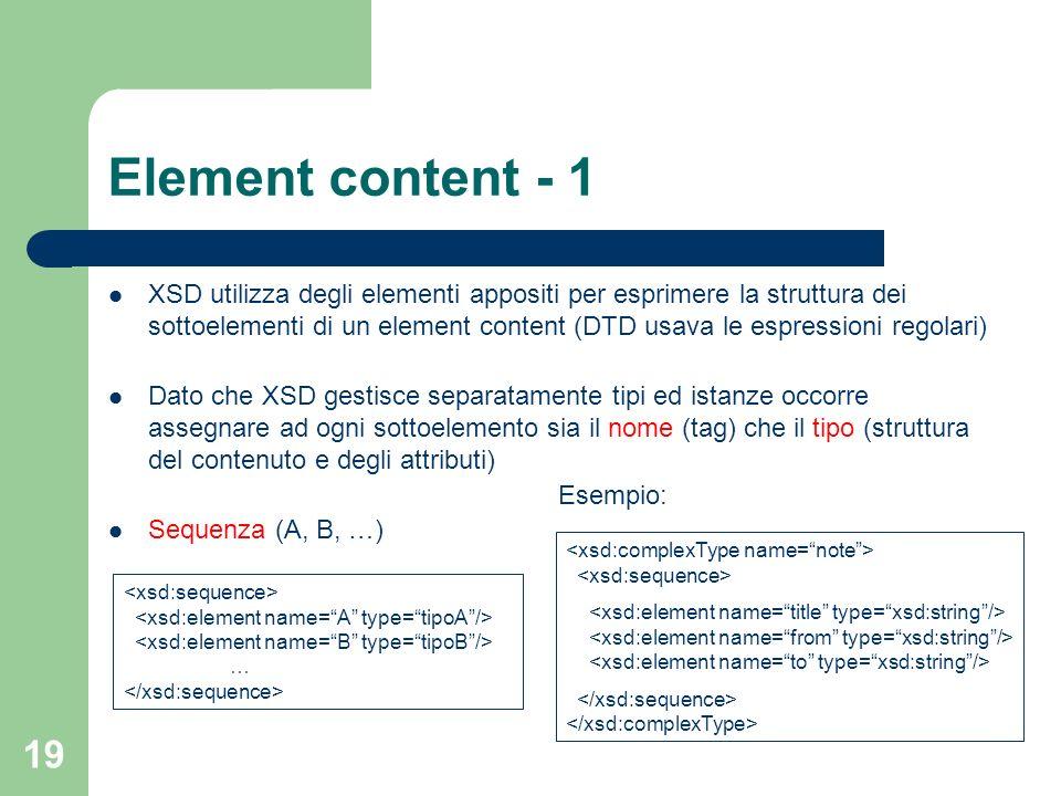 19 Element content - 1 XSD utilizza degli elementi appositi per esprimere la struttura dei sottoelementi di un element content (DTD usava le espressio