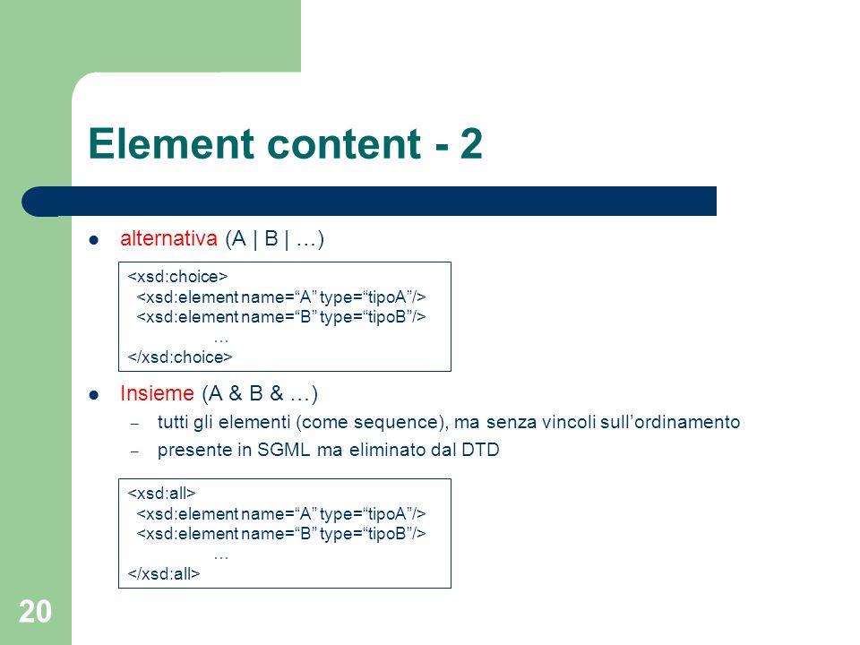 20 Element content - 2 alternativa (A | B | …) Insieme (A & B & …) – tutti gli elementi (come sequence), ma senza vincoli sullordinamento – presente i