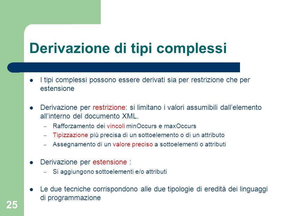 25 Derivazione di tipi complessi I tipi complessi possono essere derivati sia per restrizione che per estensione Derivazione per restrizione: si limit