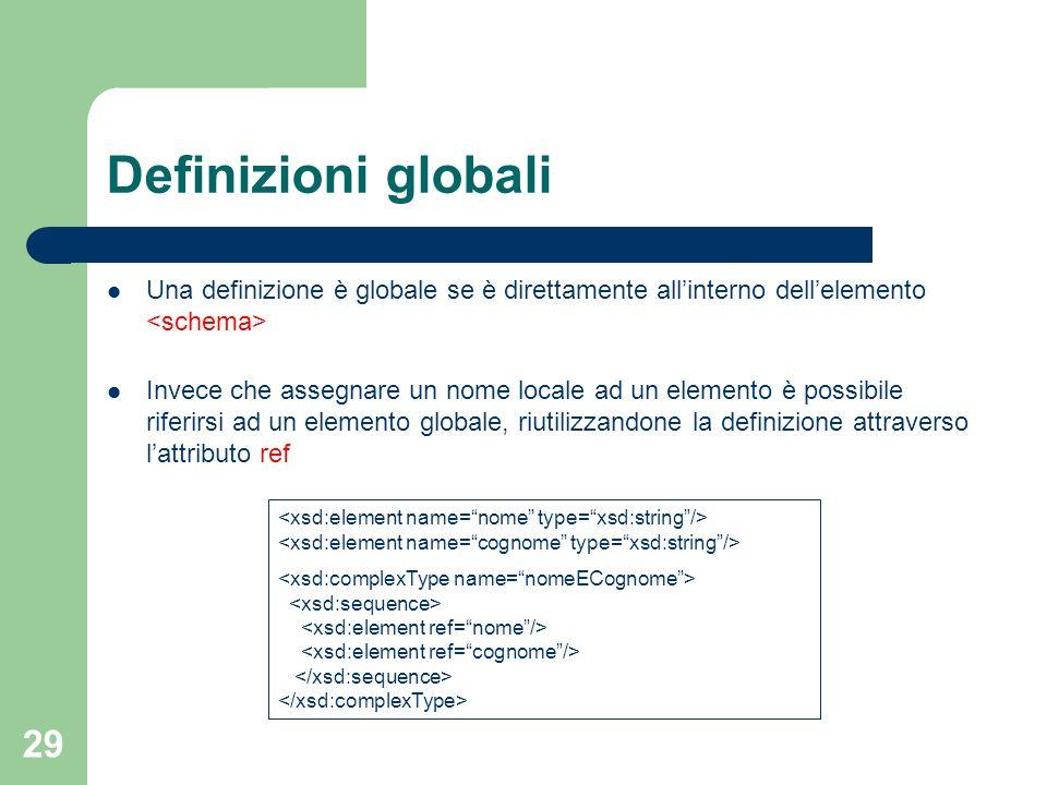 29 Definizioni globali Una definizione è globale se è direttamente allinterno dellelemento Invece che assegnare un nome locale ad un elemento è possib