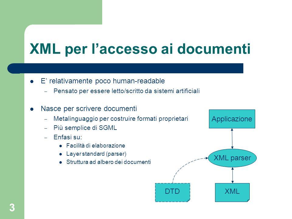 3 XML per laccesso ai documenti E relativamente poco human-readable – Pensato per essere letto/scritto da sistemi artificiali Nasce per scrivere docum