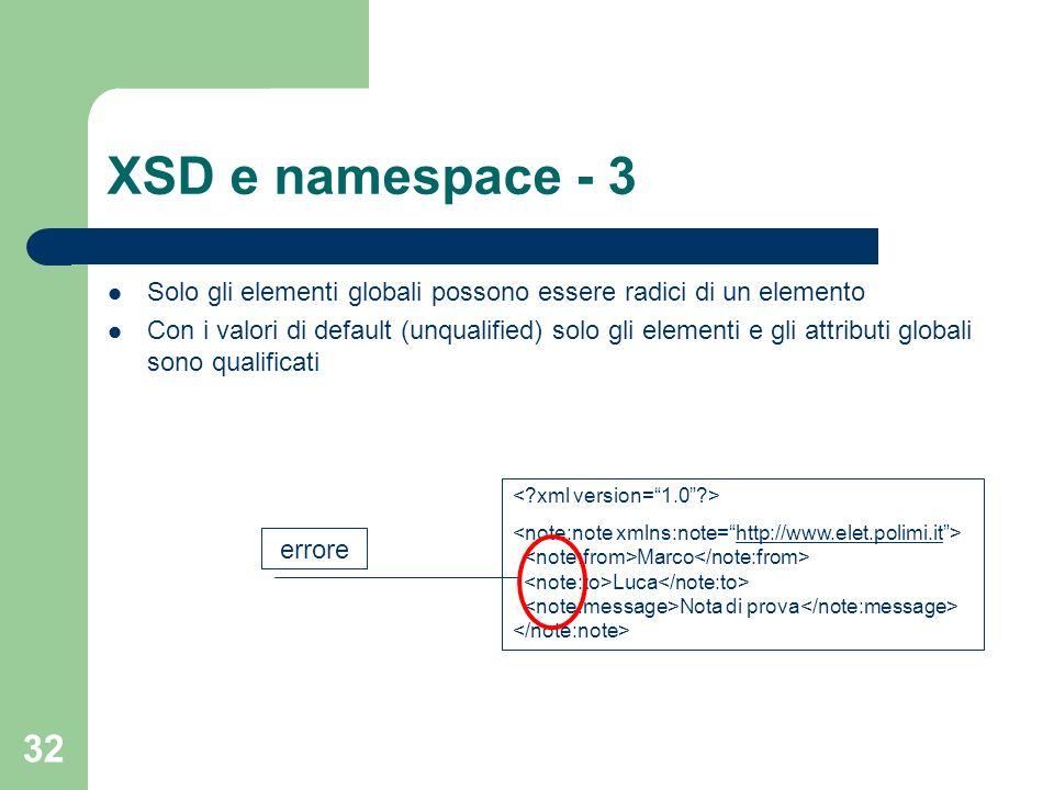32 XSD e namespace - 3 Solo gli elementi globali possono essere radici di un elemento Con i valori di default (unqualified) solo gli elementi e gli at