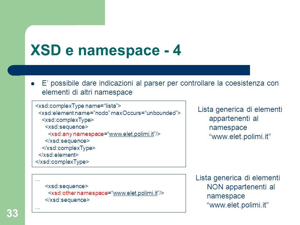 33 XSD e namespace - 4 E possibile dare indicazioni al parser per controllare la coesistenza con elementi di altri namespace www.elet.polimi.it Lista