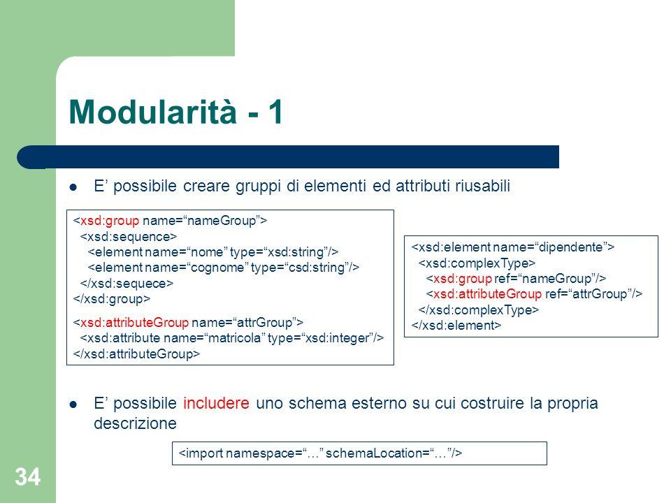 34 Modularità - 1 E possibile creare gruppi di elementi ed attributi riusabili E possibile includere uno schema esterno su cui costruire la propria de