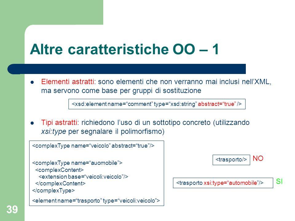 39 Altre caratteristiche OO – 1 Elementi astratti: sono elementi che non verranno mai inclusi nellXML, ma servono come base per gruppi di sostituzione
