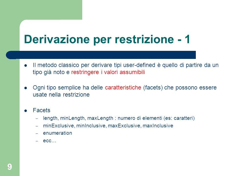 9 Derivazione per restrizione - 1 Il metodo classico per derivare tipi user-defined è quello di partire da un tipo già noto e restringere i valori ass
