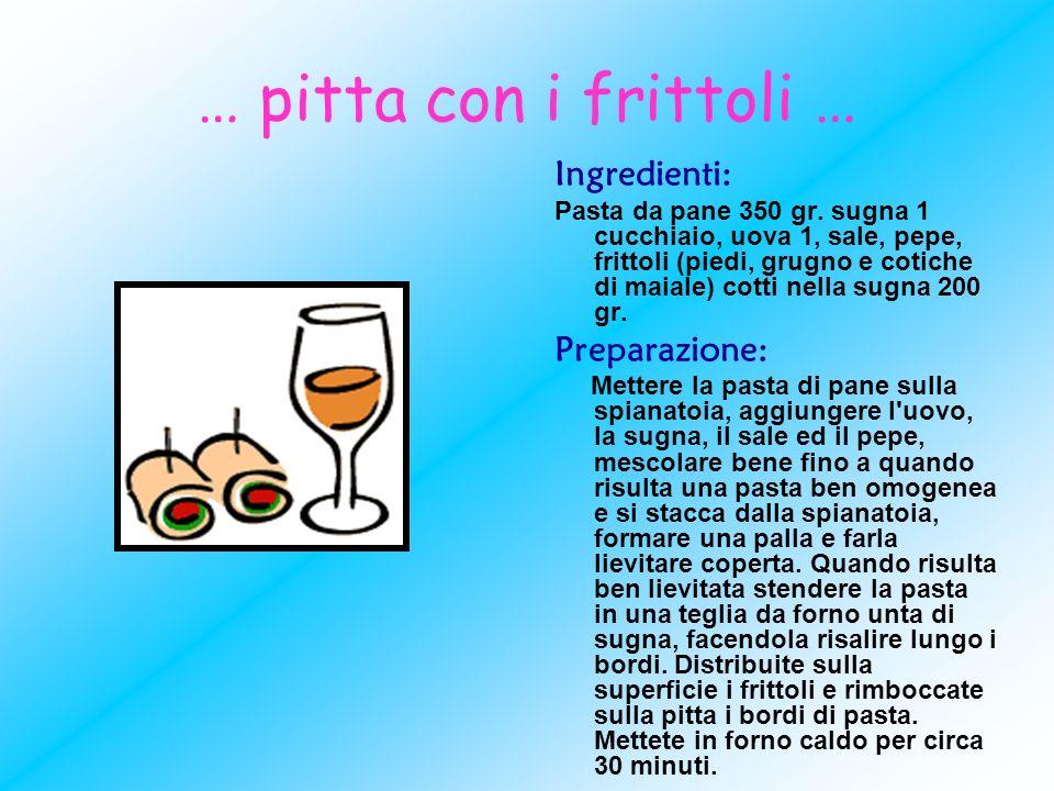 … pitta con i frittoli … Ingredienti: Pasta da pane 350 gr. sugna 1 cucchiaio, uova 1, sale, pepe, frittoli (piedi, grugno e cotiche di maiale) cotti