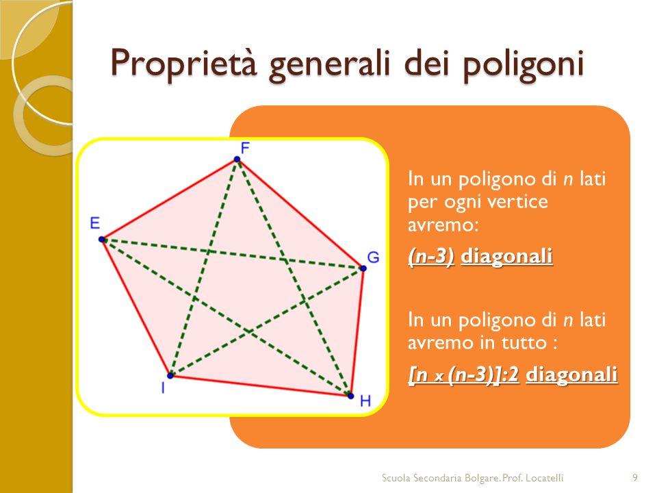 Proprietà generali dei poligoni Scuola Secondaria Bolgare. Prof. Locatelli9 In un poligono di n lati per ogni vertice avremo: (n-3) diagonali In un po