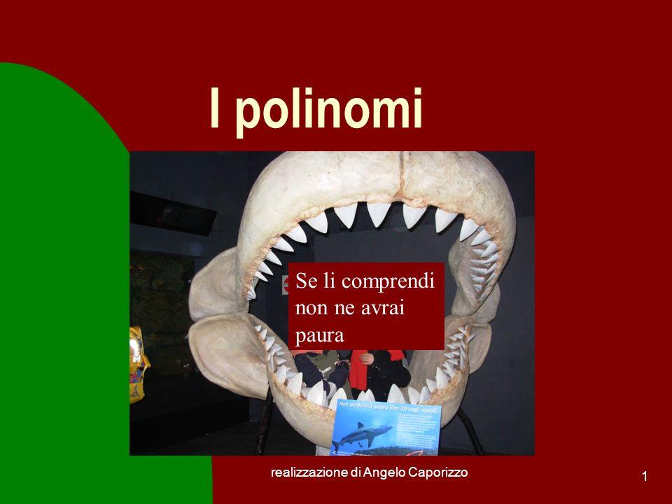 realizzazione di Angelo Caporizzo 1 I polinomi Se li comprendi non ne avrai paura