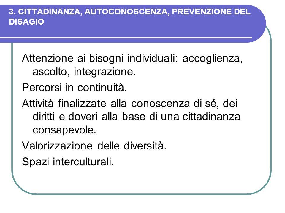 3. CITTADINANZA, AUTOCONOSCENZA, PREVENZIONE DEL DISAGIO Attenzione ai bisogni individuali: accoglienza, ascolto, integrazione. Percorsi in continuità