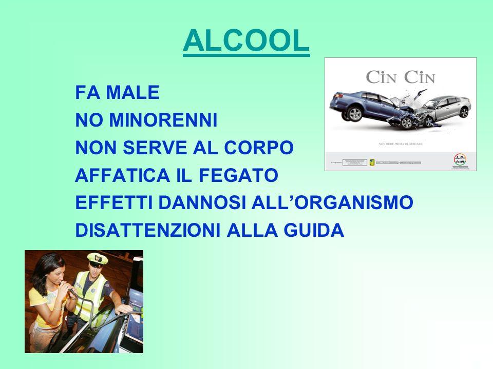 ALCOOL FA MALE NO MINORENNI NON SERVE AL CORPO AFFATICA IL FEGATO EFFETTI DANNOSI ALLORGANISMO DISATTENZIONI ALLA GUIDA