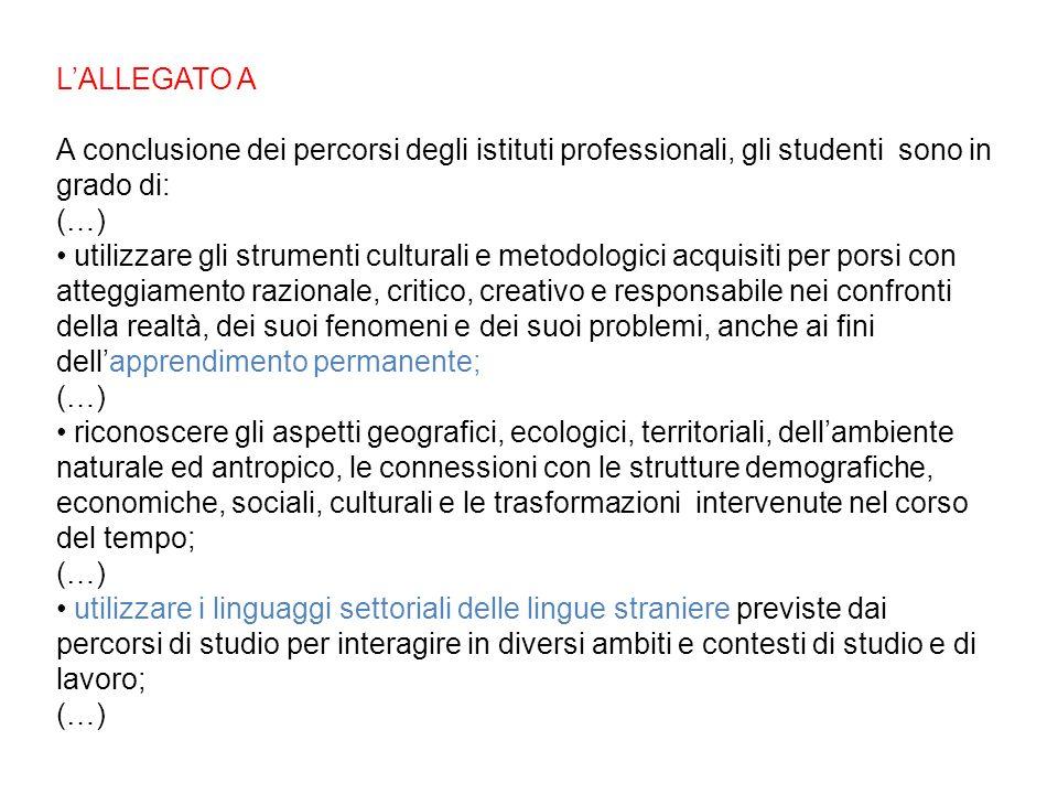 LALLEGATO A A conclusione dei percorsi degli istituti professionali, gli studenti sono in grado di: (…) utilizzare gli strumenti culturali e metodolog