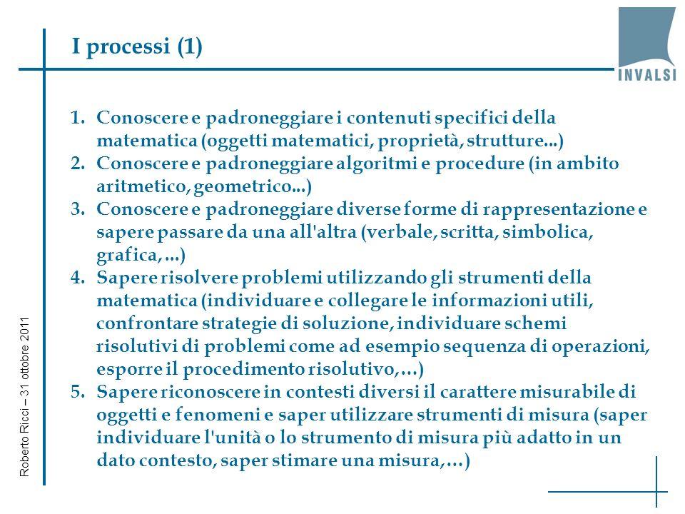 Gli ambiti della prova di matematica AMBITI Numeri Spazio e figure Relazioni e funzioni (dalla 5 primaria) Dati e previsioni Roberto Ricci – 31 ottobre 2011