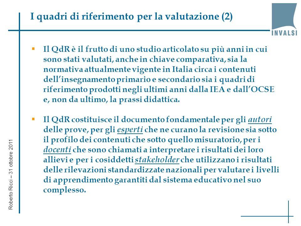 I quadri di riferimento per la valutazione (2) Il QdR è il frutto di uno studio articolato su più anni in cui sono stati valutati, anche in chiave comparativa, sia la normativa attualmente vigente in Italia circa i contenuti dellinsegnamento primario e secondario sia i quadri di riferimento prodotti negli ultimi anni dalla IEA e dallOCSE e, non da ultimo, la prassi didattica.