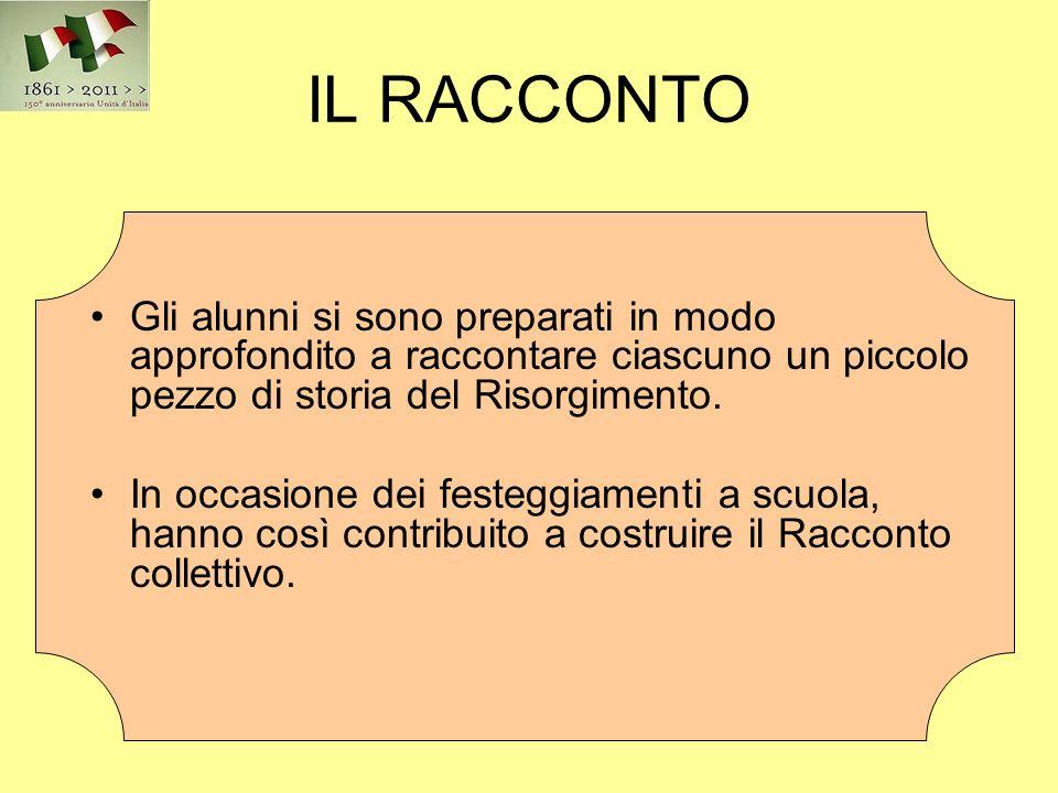 IL RACCONTO Gli alunni si sono preparati in modo approfondito a raccontare ciascuno un piccolo pezzo di storia del Risorgimento.