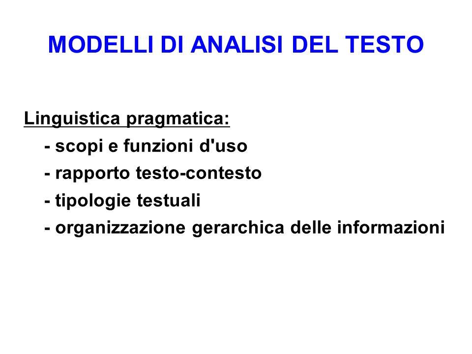 MODELLI DI ANALISI DEL TESTO Linguistica pragmatica: - scopi e funzioni d'uso - rapporto testo-contesto - tipologie testuali - organizzazione gerarchi
