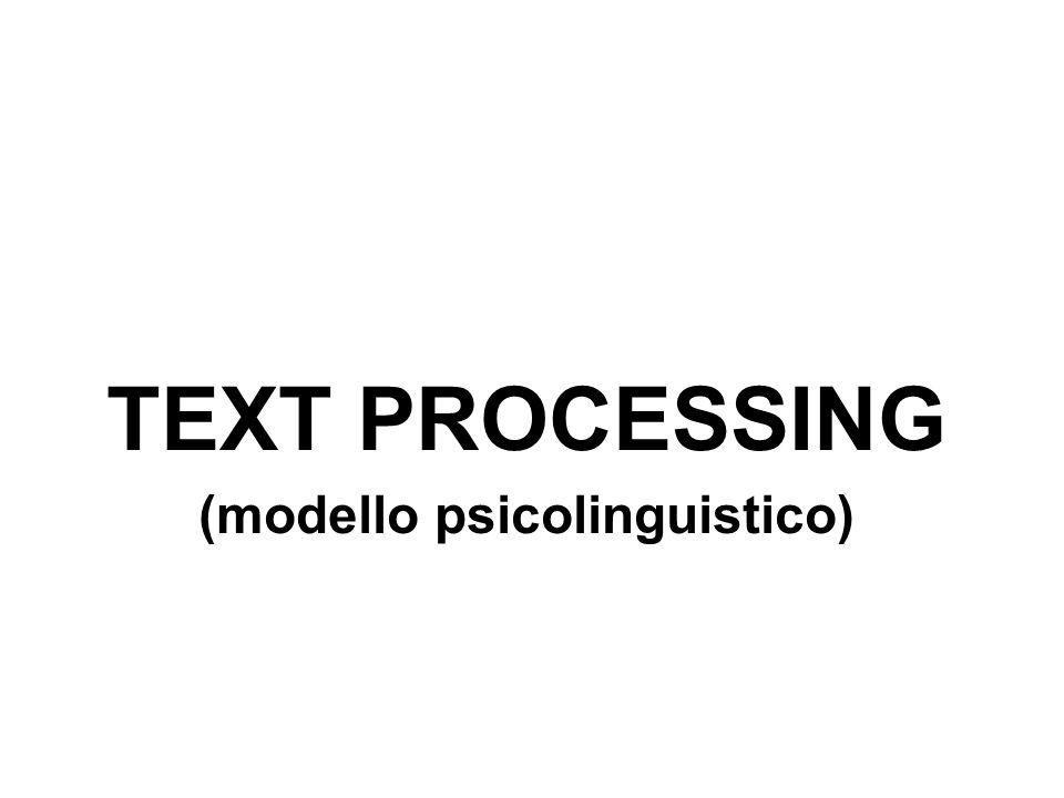 TEXT PROCESSING (modello psicolinguistico)