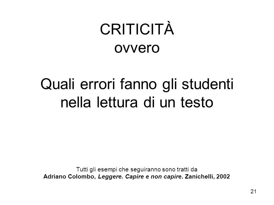 21 CRITICITÀ ovvero Quali errori fanno gli studenti nella lettura di un testo Tutti gli esempi che seguiranno sono tratti da Adriano Colombo, Leggere.