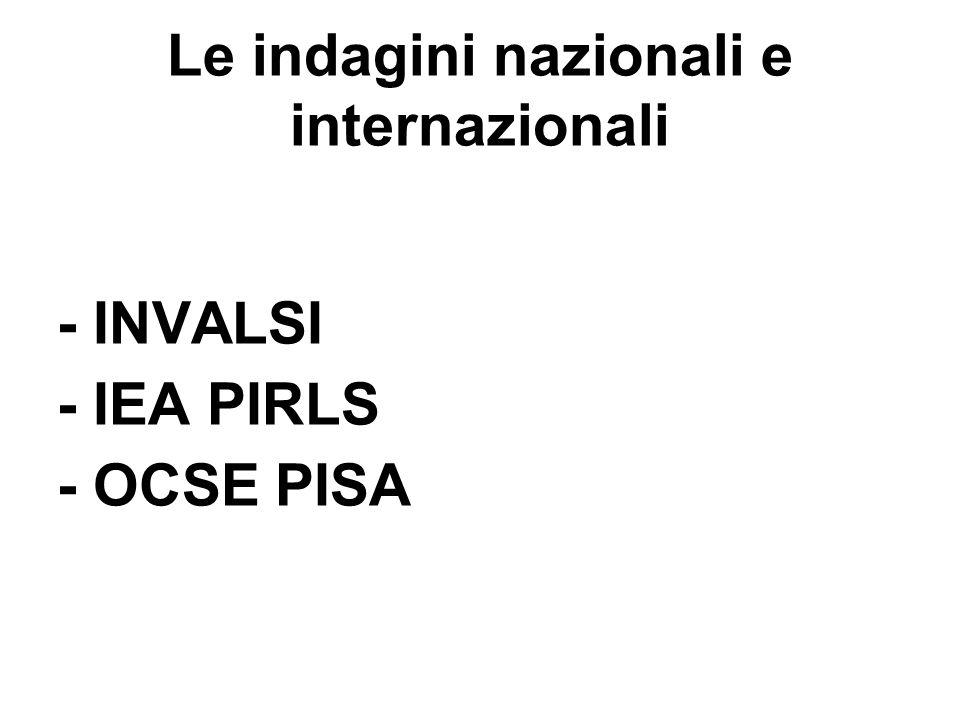 Le indagini nazionali e internazionali - INVALSI - IEA PIRLS - OCSE PISA