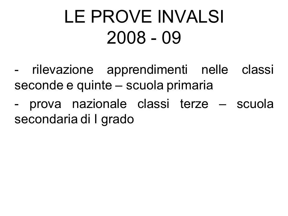 LE PROVE INVALSI 2008 - 09 - rilevazione apprendimenti nelle classi seconde e quinte – scuola primaria - prova nazionale classi terze – scuola seconda
