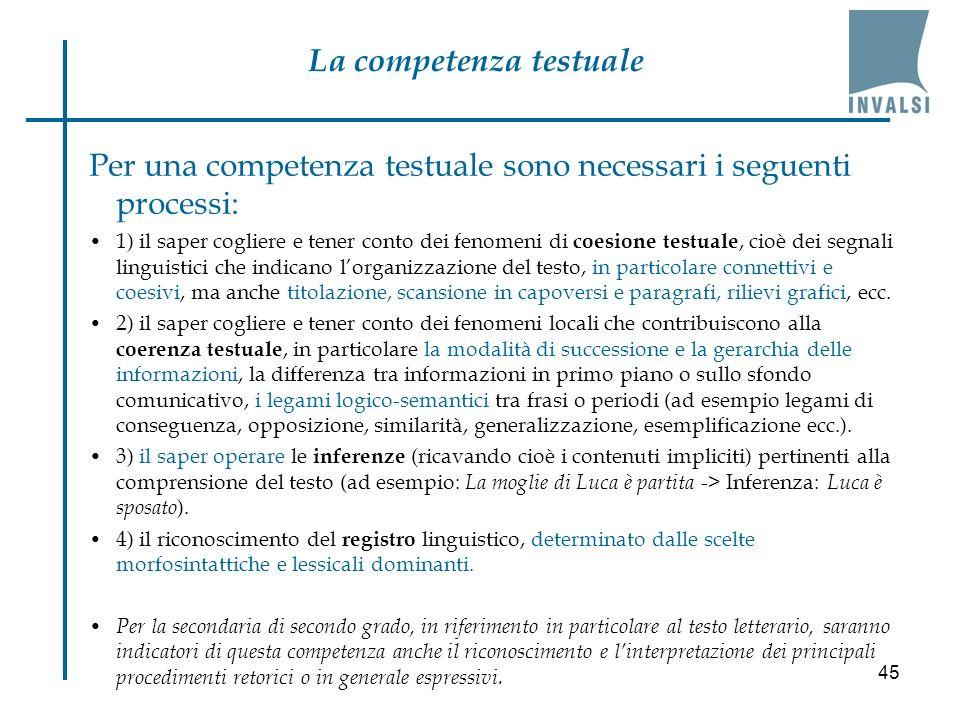 45 Per una competenza testuale sono necessari i seguenti processi: 1) il saper cogliere e tener conto dei fenomeni di coesione testuale, cioè dei segn