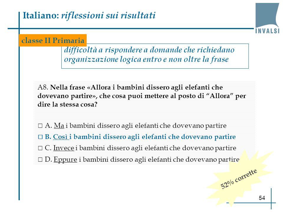54 Italiano: riflessioni sui risultati difficoltà a rispondere a domande che richiedano organizzazione logica entro e non oltre la frase A8. Nella fra