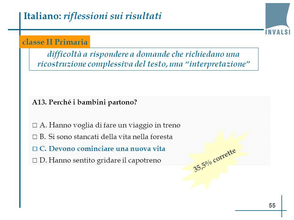 55 Italiano: riflessioni sui risultati difficoltà a rispondere a domande che richiedano una ricostruzione complessiva del testo, una interpretazione c