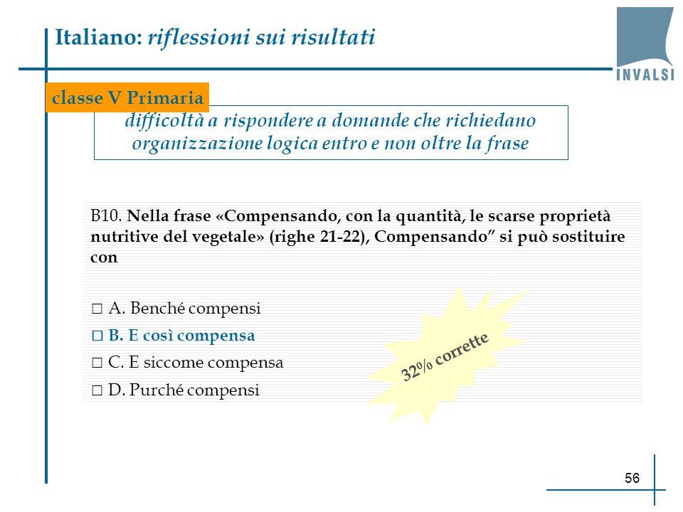 56 Italiano: riflessioni sui risultati difficoltà a rispondere a domande che richiedano organizzazione logica entro e non oltre la frase B10. Nella fr