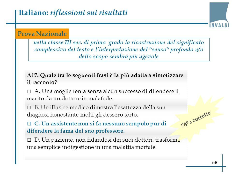 58 Italiano: riflessioni sui risultati nella classe III sec. di primo grado la ricostruzione del significato complessivo del testo e linterpretazione