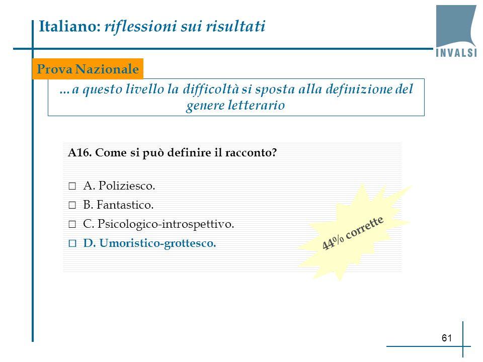 61 Italiano: riflessioni sui risultati …a questo livello la difficoltà si sposta alla definizione del genere letterario Prova Nazionale A16. Come si p