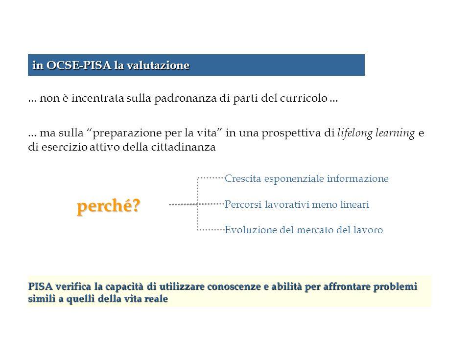 in OCSE-PISA la valutazione... non è incentrata sulla padronanza di parti del curricolo...... ma sulla preparazione per la vita in una prospettiva di