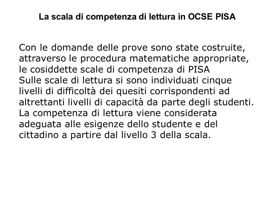 La scala di competenza di lettura in OCSE PISA Con le domande delle prove sono state costruite, attraverso le procedura matematiche appropriate, le co