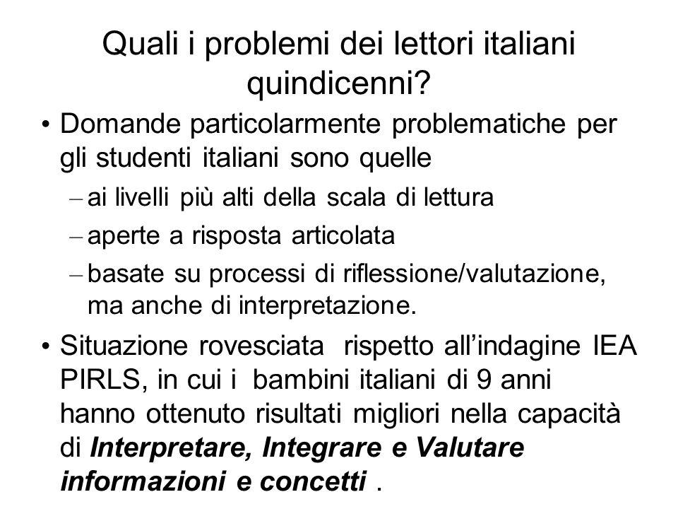 Quali i problemi dei lettori italiani quindicenni? Domande particolarmente problematiche per gli studenti italiani sono quelle – ai livelli più alti d