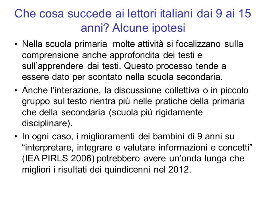 Che cosa succede ai lettori italiani dai 9 ai 15 anni? Alcune ipotesi Nella scuola primaria molte attività si focalizzano sulla comprensione anche app