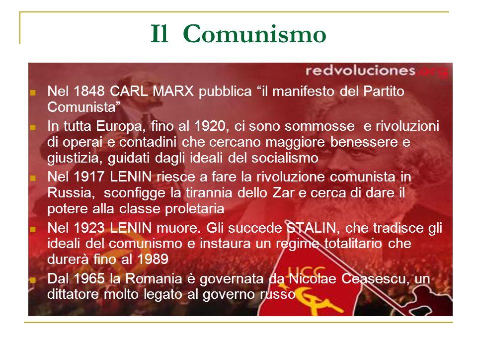 Il Comunismo Nel 1848 CARL MARX pubblica il manifesto del Partito Comunista In tutta Europa, fino al 1920, ci sono sommosse e rivoluzioni di operai e