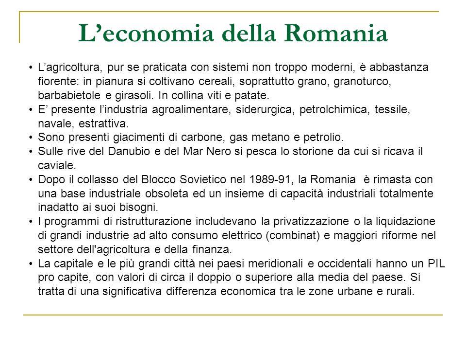 Leconomia della Romania Lagricoltura, pur se praticata con sistemi non troppo moderni, è abbastanza fiorente: in pianura si coltivano cereali, sopratt