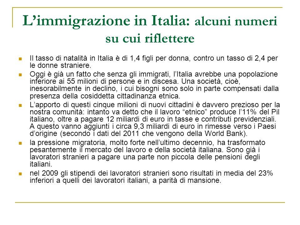 Limmigrazione in Italia: alcuni numeri su cui riflettere Il tasso di natalità in Italia è di 1,4 figli per donna, contro un tasso di 2,4 per le donne