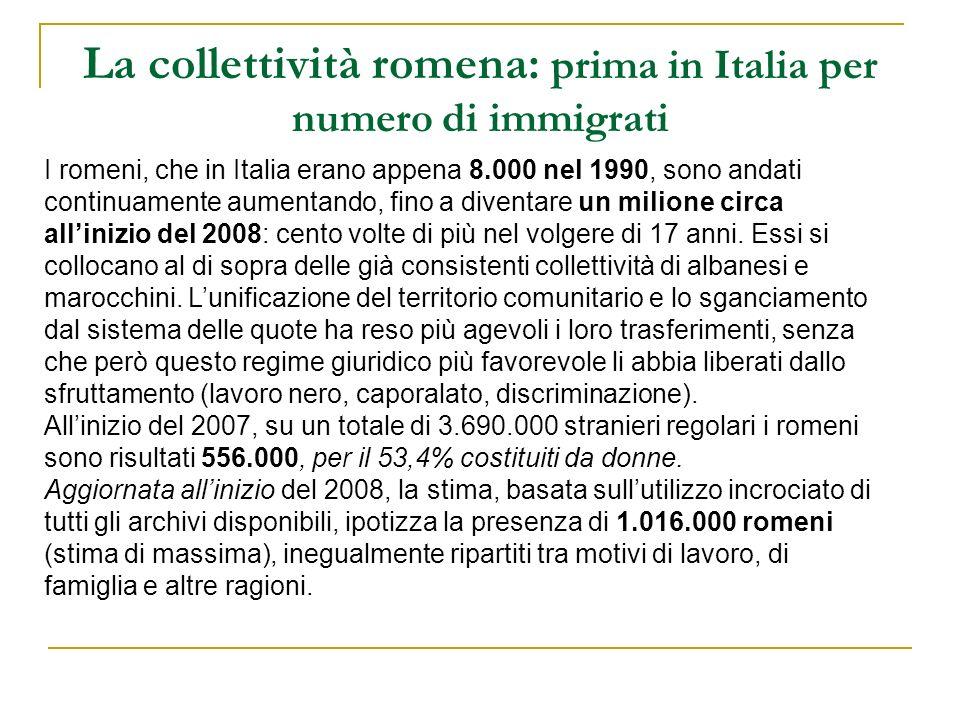 La collettività romena: prima in Italia per numero di immigrati I romeni, che in Italia erano appena 8.000 nel 1990, sono andati continuamente aumenta