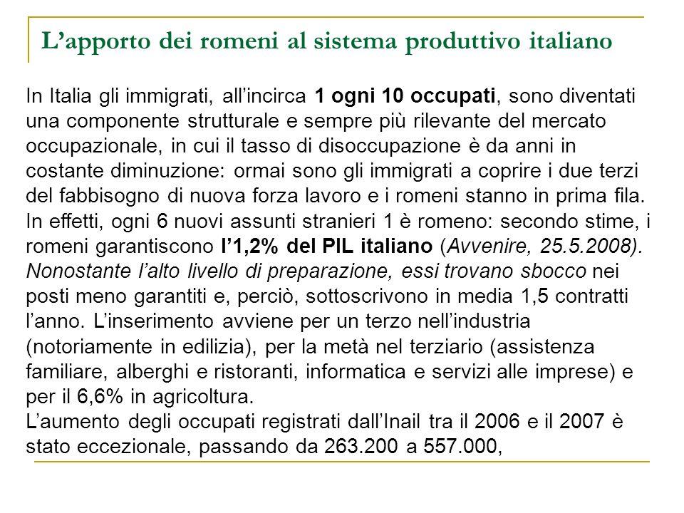 Lapporto dei romeni al sistema produttivo italiano In Italia gli immigrati, allincirca 1 ogni 10 occupati, sono diventati una componente strutturale e