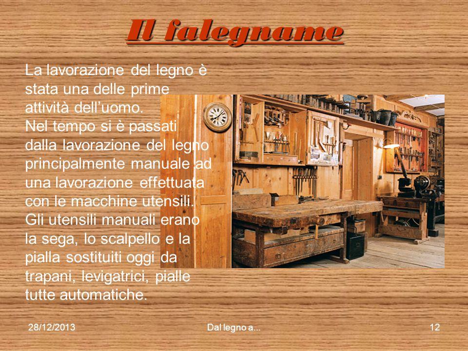 28/12/2013Dal legno a...11 Le segherie antiche Le segherie ad acqua di molto tempo fa erano chiamate veneziane ed erano collocate vicino ai corsi dacq