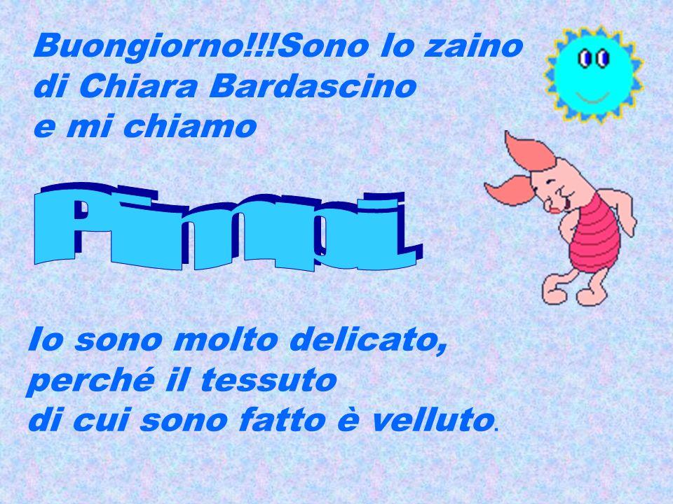 Buongiorno!!!Sono lo zaino di Chiara Bardascino e mi chiamo Io sono molto delicato, perché il tessuto di cui sono fatto è velluto.