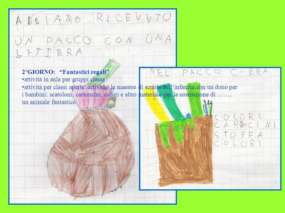 2°GIORNO: Fantastici regali attività in aula per gruppi classe attività per classi aperte: arrivano le maestre di scuola dellinfanzia con un dono per