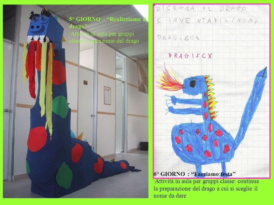 5° GIORNO : Realizziamo il drago ·Attività in aula per gruppi classe: costruzione del drago 6° GIORNO : Facciamo festa ·Attività in aula per gruppi cl