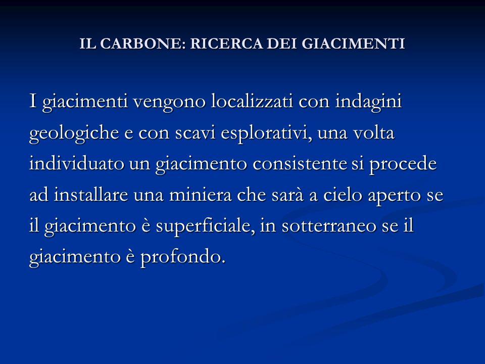 IL CARBONE: RICERCA DEI GIACIMENTI IL CARBONE: RICERCA DEI GIACIMENTI I giacimenti vengono localizzati con indagini geologiche e con scavi esplorativi