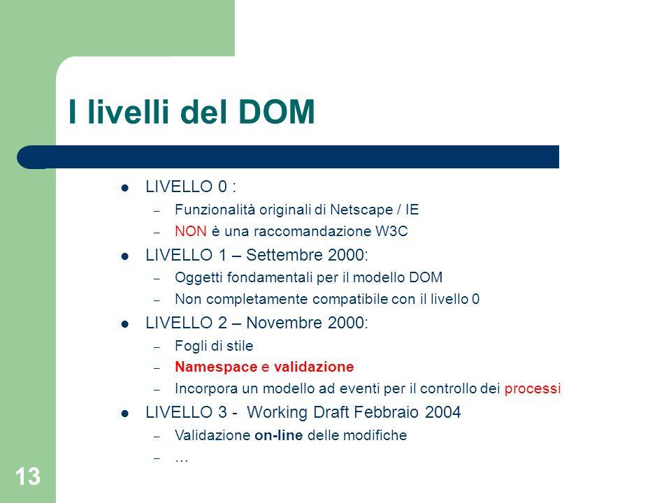 13 I livelli del DOM LIVELLO 0 : – Funzionalità originali di Netscape / IE – NON è una raccomandazione W3C LIVELLO 1 – Settembre 2000: – Oggetti fondamentali per il modello DOM – Non completamente compatibile con il livello 0 LIVELLO 2 – Novembre 2000: – Fogli di stile – Namespace e validazione – Incorpora un modello ad eventi per il controllo dei processi LIVELLO 3 - Working Draft Febbraio 2004 – Validazione on-line delle modifiche – …