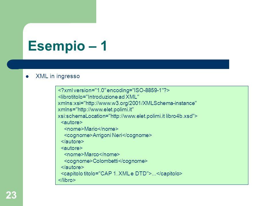 23 Esempio – 1 <librotitolo= Introduzione ad XML xmlns:xsi= http://www.w3.org/2001/XMLSchema-instance xmlns= http://www.elet.polimi.it xsi:schemaLocation= http://www.elet.polimi.itlibro4b.xsd > Mario Arrigoni Neri Marco Colombetti...