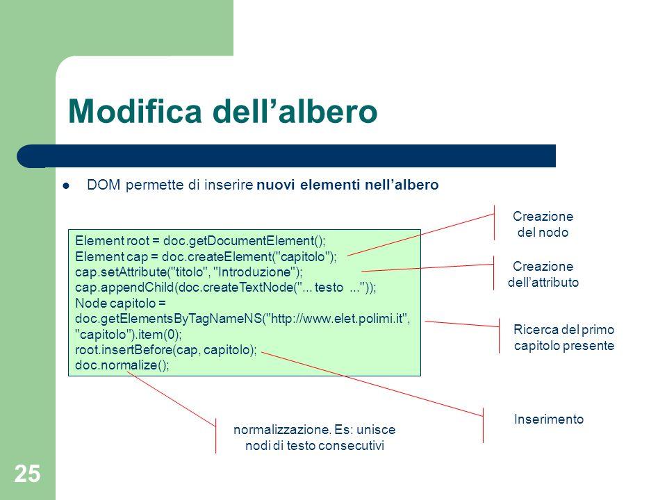 25 Modifica dellalbero Element root = doc.getDocumentElement(); Element cap = doc.createElement( capitolo ); cap.setAttribute( titolo , Introduzione ); cap.appendChild(doc.createTextNode( ...
