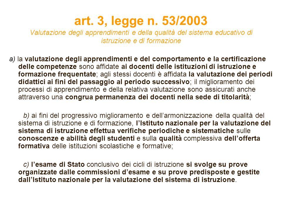 art. 3, legge n. 53/2003 Valutazione degli apprendimenti e della qualità del sistema educativo di istruzione e di formazione a) la valutazione degli a